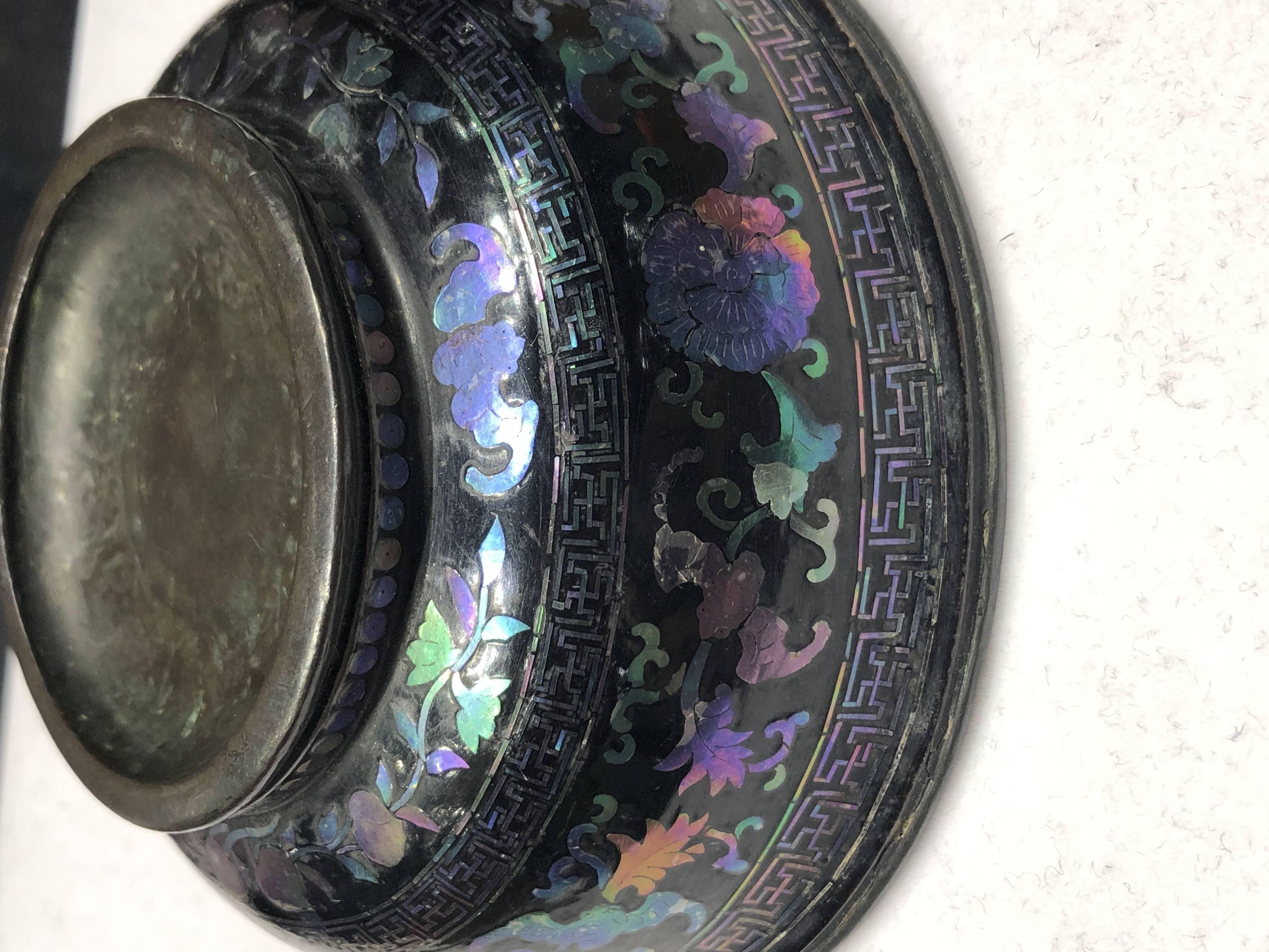 黑漆福寿纹碗